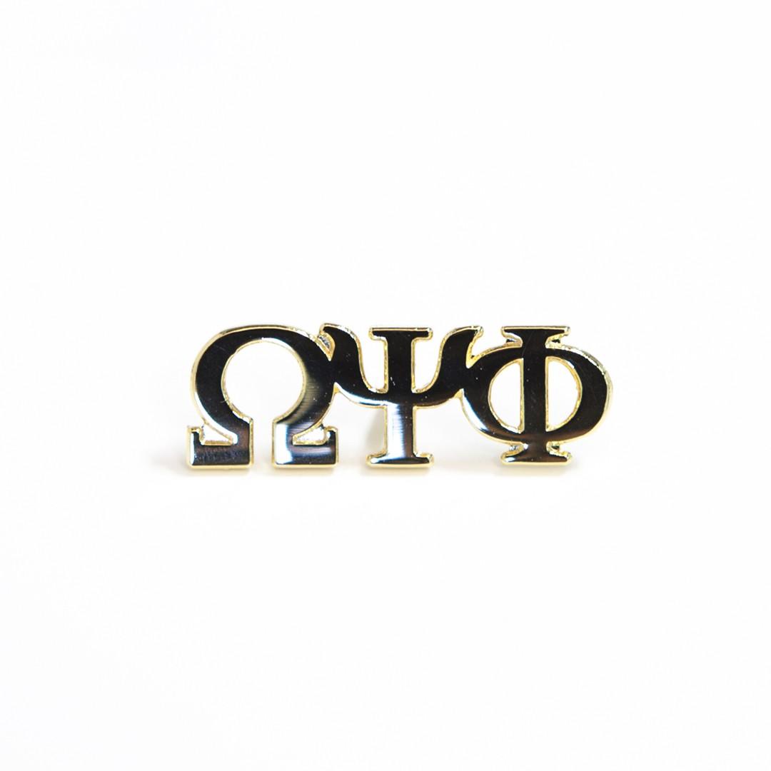 3 Letter Gold Pin-Omega Psi Phi