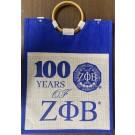 Centennial Large Pocket Jute Bag - Zeta Phi Beta